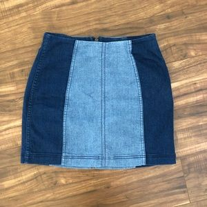Free People Two-Toned Denim Skirt